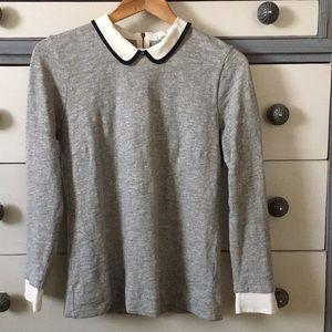 J Crew tipped silk collar sweater